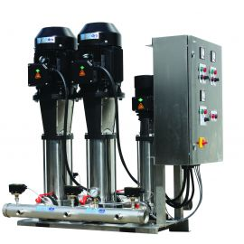 Fixed and variable speed clean water booster set with dual vertical multistage pumps and jockey pump